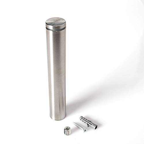 Stainless Steel Standoff 1 Inch Diameter x 6 Inch Barrel Length Brushed Finish for PVC, Glass and Acrylic Sign Stand Off Wall Anchors and Screws 4 Piece Pack for Heavy Signs