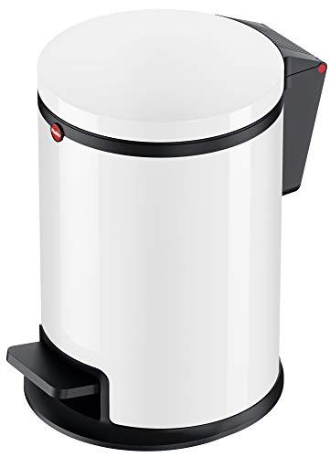 Hailo Pure S Mülleimer | 1 x 3 Liter | Deckel mit Soft Close Absenkautomatik | Stahlblech | Müllbeutel-Klemmringsystem | Tragegriff | Mülleimer Bad rund | Badezimmer Mülleimer made in Germany | weiß