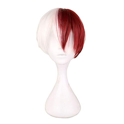 DUBKARTna Half Silver or Half White Half Red Cosplay Wig for Halloween (Half White Half Red)
