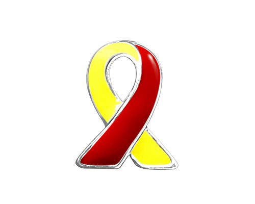 Red & Yellow Ribbon Awareness Lapel Pin - Small Ribbon Pin for Coronavirus Disease, Hepatitis C Awareness, and HIV/HCV Co-Infection Awareness (1 Pin - Retail)