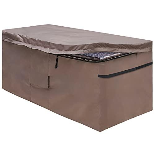 MountainLoc Abdeckung Für Garten Auflagenbox, Schutzhülle Der Kissenbox Mit Reißverschlussdeckel Und Entlüftung, Wasserdicht, 420D Oxford Braun (123*55*62cm)
