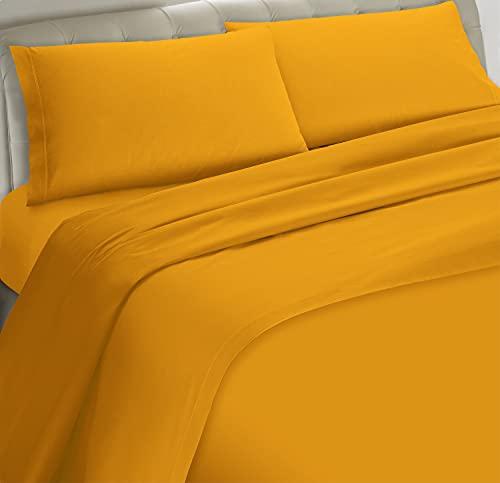 Banzaii Completo Lenzuolo Matrimoniale, Giallo 100% Microfibra Made in Italy, Lenzuolo Sopra 240 x 290 cm, Lenzuolo Sotto 160/170 x 190/200 x 25 cm, 2 Federe 52 x 82 cm