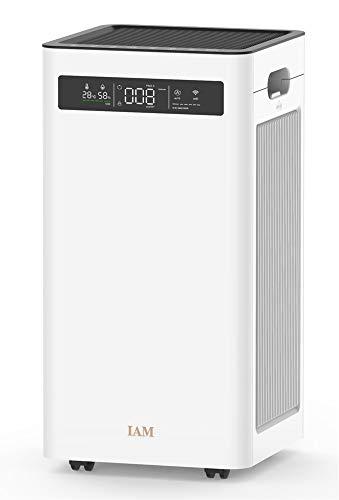 IAM HEPA Luftreiniger,CADR 500m3 / h Wohnung Schlafzimmer, 60㎡, Echter HEPA-Kombifilter, Leise Schlafmodus, 3 Windgeschwindigkeit, gegen Rauch, Gerüche, Allergien, Pollen, AC 500