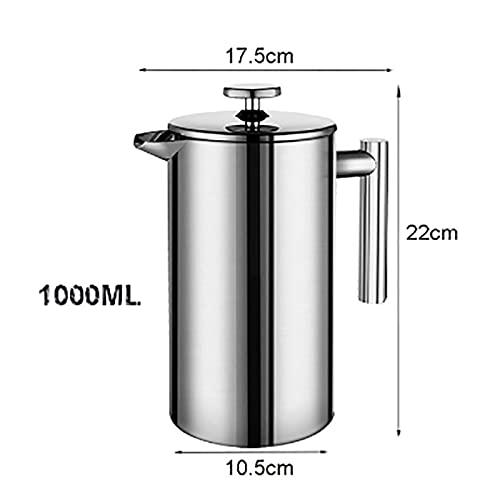 Ekspres do kawy, Ekspres do kawy Francuski prasa ze stali nierdzewnej espresso ekspres do kawy wysokiej jakości izolowany dookoła ściany do kawy Ekspres do kawy 1000ml (Color : 1000ml)