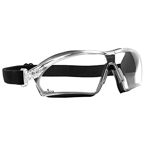 NoCry Lightweight Safety Goggles with Clear Wrap Around Lenses, Vanguard Plus Anti Fog and Anti Scratch Coating, and an Adjustable Headband; ANSI Z87.1 certified and OSHA compliant