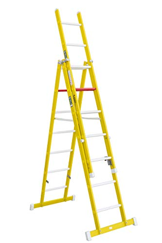 Escalera aislante de tijera con un tramo extensible, fabricada en fibra de...