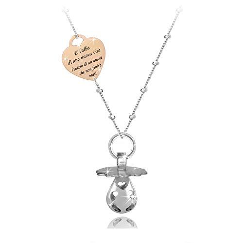 SAGA GIOIELLI® Halskette mit Engelsrufer, Klangkugel, Schnuller, Herz, emotionaler Spruch, die Alte eines neuen Lebens