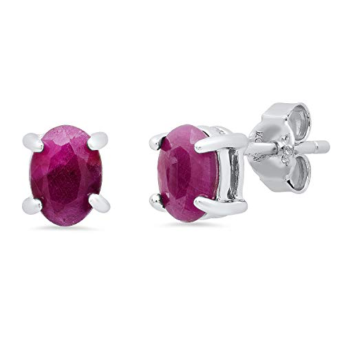 Genuine Ruby Prong Set Oval Stud Earrings in Sterling Silver (7x5mm)