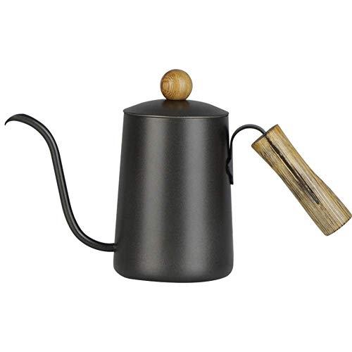 Yaeeee Perforado a mano Cafetera Cafetera Hervidor de agua Cafetera Conjunto anti-escaldar la manija de madera de acero inoxidable 7MM estrecha boca for el hogar Cafetera (Color: Negro, Tamaño: 600 ml