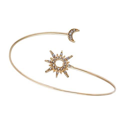 Happyyami Frauen Oberarm Manschette Strass Mond Stern Arm Armband Dekorative Offene Arm Armreif Band Geometrische Goldene Arm Manschette