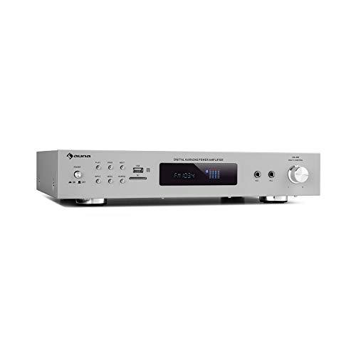 auna AMP-9200 BT Karaoke Stereo-Amplifier Verstärker, Bluetooth ,UKW-Tuner & Antennenanschluss ,USB / SD ,AUX-In ,DVD-In ,2 Mikrofon-Anschlüsse, ,Ausgangsleistung: 2 x 60 W RMS ,Silber