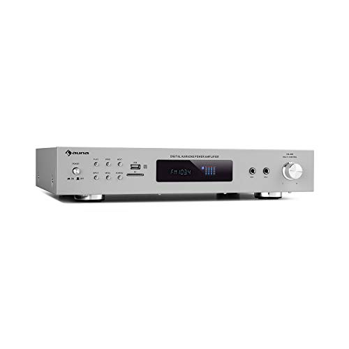 auna AMP-9200 BT Karaoke Amplificador estéreo, Potencia de Salida: 2 x 60 vatios RMS, Bluetooth, Conector de Antena y sintonizador FM, USB / SD, AUX-In, DVD-In, 2 Conectores de micrófono, Plata.