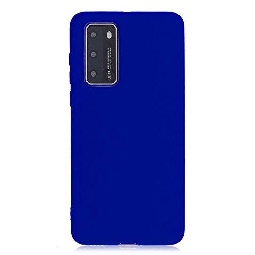 cuzz Funda para Huawei P40 Pro+{Protector de Pantalla de Vidrio Templado} Carcasa Silicona Suave Gel Rasguño y Resistente Teléfono Móvil Cover-Azul Oscuro