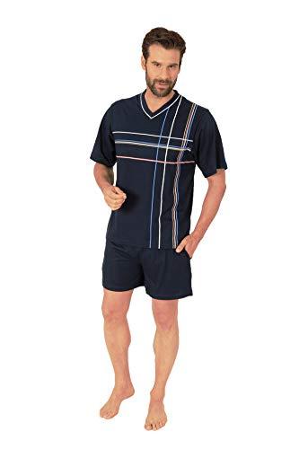 Eleganter Herren Kurzarm Schlafanzug Shorty Pyjama - 55422, Farbe:Navy, Größe:52-54
