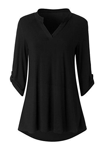 Zattcas Womens Floral Printed Tunic Shirts 3/4 Roll Sleeve Notch Neck Tunic Top,Solid Black,Medium