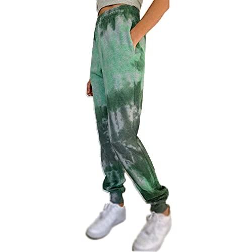 WJANYHN Pantalones Casuales De Linterna De Pie PequeñO con Estampado De TeñIdo Anudado Multicolor...