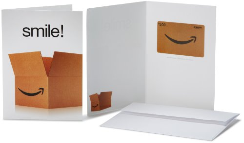 Amazon.com $500 Gift Card in a Greeting Card (Smile! Design)