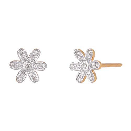 Pendientes de oro amarillo de 14 quilates con diseño floral y diamantes de talla brillante naturales de 0,16 quilates (color H-I, claridad Vs2 Si1) joyería fina para regalos de mujer.