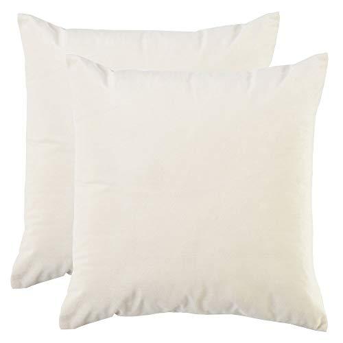 BlueCosto (2_Blanco Terciopelo Fundas de Cojines Funda de cojín para sofá Almohada Dormitorio Coche Suave Decoración 45 x 45 cm