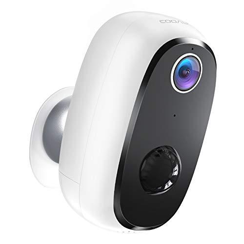COOAU Überwachungskamera, 1080P Akku Kabellos Wiederaufladbare WLAN IP Kamera mit PIR-Bewegungserkennung, Lange Zeit Standby mit 15M Nachtsicht und 2 Wege Audio, IP65 Wasserdicht