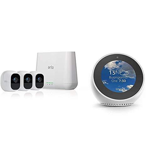 Echo Spot bianco + Arlo Pro 2 VMS4330P Telecamera di Sicurezza Wifi, Opzione Alimentazione Cablata e Piani di Registrazione 24/7, Full HD, Batteria Ricaricabile, Audio a 2 Vie, Kit 3 Telecamere
