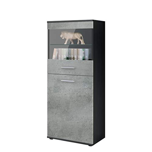 Vladon Tall Display Cabinet Cupboard Almada, Carcass in Black matt/Front in Concrete Dark Grey