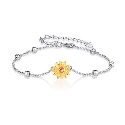 Sonnenblumen Armbänder für Mädchen 925 Sterling Silber vergoldet Sunflower Link Armband Geschenke für Damen Frauen (A-Armbänder)