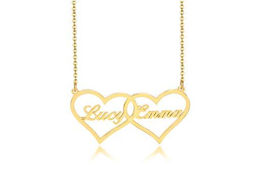 VNOX Personalizar 2 Nombres Collar de corazón a corazón para Mujer Nombre Personalizado BFF Hermanas Mamá Esposa Novia Collar Colgante Mujer Joyería de Acero Inoxidable, Regalo para Ella