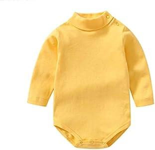 Bebé niño niña Camisa de Manga Larga Mono Cuello Alto Mameluco Ropa de Invierno niño otoño Pijama Capa Superior (Amarillo, 9-12 Months)