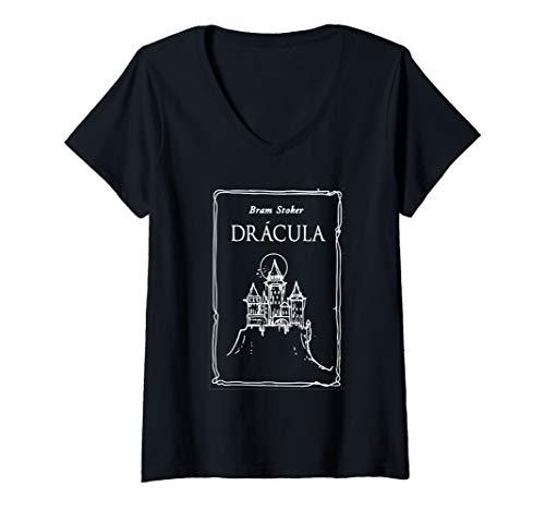 Womens Bram Stoker's Dracula 1897 original book cover T shirt V-Neck T-Shirt