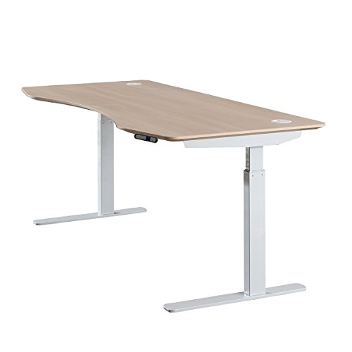 "ApexDesk Elite Series 60"" W Electric Height Adjustable Standing Desk (Memory Controller, 60"" Light Oak Top, Off-White Frame)"