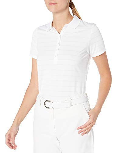 Callaway Women's Golf Short Sleeve Pique Open Mesh Polo Shirt, White, XX-Large