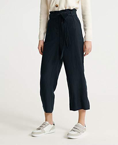 Superdry Eden Linen Trouser Pantalones, Marino Eclipse, 46 (Talla del Fabricante: 32) para Mujer