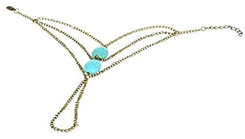 Anello - Bracciale - baciamano - cavigliera - colore oro - pietre turchesi