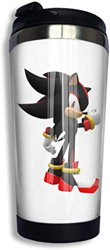 Qurbet Botella de agua, Sonic Shadow The Hedgehog Coffee Cup Stainless Steel Water Bottle Cup Travel Mug Coffee Tumbler with Spill Proof Lid