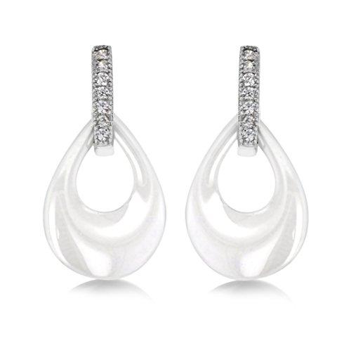 Tuscany Silver Ohrhänger Rhodiniert Sterling Silber Weiß Keramik und Weiß Zirkonia