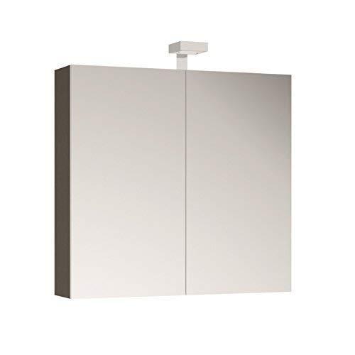 Allibert Spiegelschrank Spiegel Badmöbel vormontiert 80cm mit LED-Beleuchtung Korpus grau Asphalt glänzend
