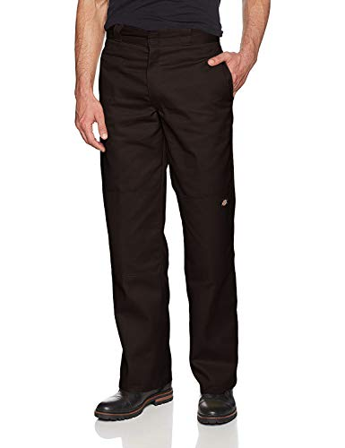 Dickies Men's Loose Fit Double Knee Twill Work Pant, Dark Brown, 44W x 32L