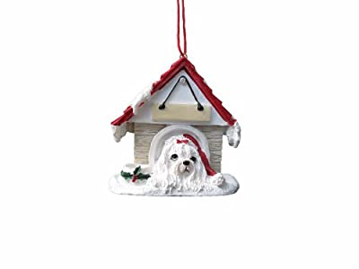 """Maltese Ornament A Great Gift For Maltese Owners Hand Painted and Easily Personalized """"Doghouse Ornament"""" With Magnetic Back from E&S Imports, Inc"""