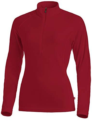 Medico Damen Ski Shirt, 100% Polyester, Fleece, langarm, Reißverschluss (G61 Red, 46)