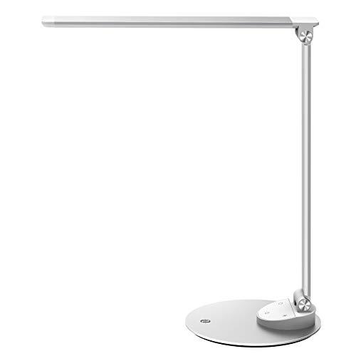 TaoTronics Schreibtischlampe LED, Metall Tageslichtlampe Bürolampe mit 5 Helligkeitsstufen und 5 Farbmodus 3000K-6000K, Augenschutz, Ultradünne Alu, Merkfunktion, 5V 1A USB für Studium, Arbeit, zimmer