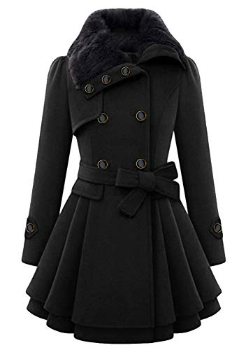YMING Womens Flare Trench Coat Double Breasted Wool Blended Pea Coat Overcoat with Belted Black XL