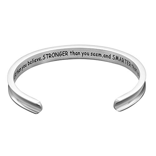 Stainless Steel Cuff Bangle Bracelet Inspirational Jewelry Cuff You Are Braver than You Believe