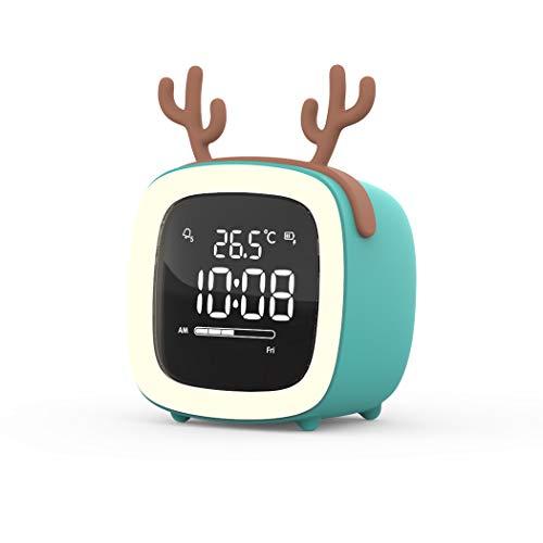 S.W.H Reloj Despertador Digital Pantalla LED Mesita de Noche Reloj de Escritorio con función de repetición Control de Voz Pantalla de retroiluminación Alimentado USB