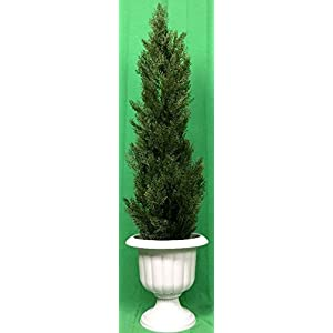 """Silk Flower Arrangements Artificial UV Rated Outdoor 54"""" Cedar Topiary Tree with Md Sandstone Urn, by Silk Tree Warehouse"""