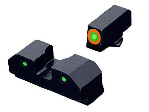 XS Sights 3-Dot Tritium Night Sights, Orange Photoluminescent Outline, Fits Glocks Gen 1 – Gen 5 (Glock 42, 43, 43X, 48, Orange)