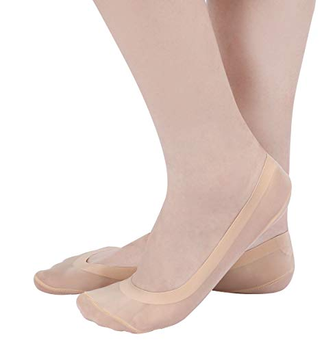 ECOMBOS Damen Unsichtbare Socken - 6 Paar Ballerina Baumwolle Nylon Boat Socken mit Rutschfest Silikon atmungsaktiv Ballerina Unsichtbare Socken( Größe 35-38) (Beige-a)