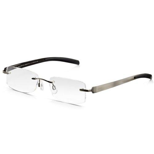 Read Optics Gafas de lectura para hombres: Rectangular sin montura antideslumbrante Protección...