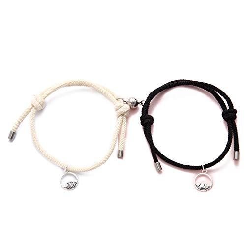Jingmeizi - Juego de 2 pulseras minimalistas a juego para amantes de la amistad, cuerda trenzada para parejas, diseño de distancia magnética