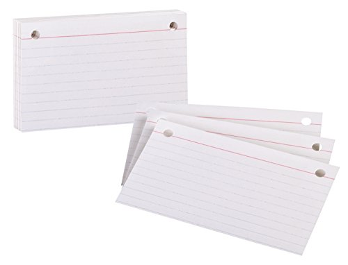 "OXFORD INDEX CARD REFILL 50CT, 2HP, Ruled, 3"" x 5"", White"